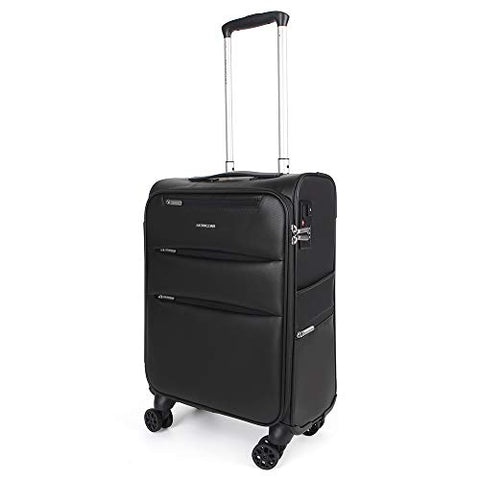 NEWCOM Luggage 20 Inch Carry On Softside Spinner Business Suitcase Softshell Trolley Case with USB Charging Port Build-in TSA Lock