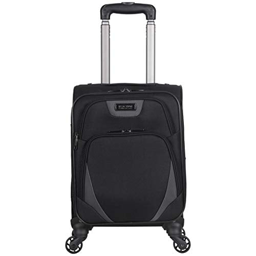 "Kenneth Cole Reaction Going Places 16"" Polyester Expandable 4-Wheel Carry-on Spinner Luggage, Black"