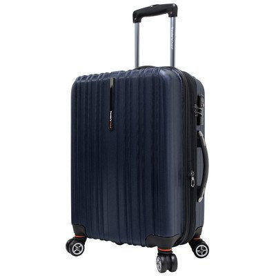 Traveler's Choice Tasmania 100% Polycarbonate Expandable 8-Wheel Spinner Luggage with Diamond Cut Texture Finish - Navy (21-Inch)