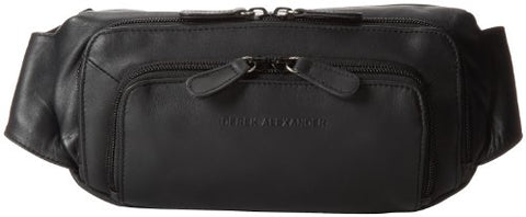 Derek Alexander Three Zip Fanny Pack Organizer, Black, One Size
