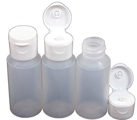 Creative Hobbies 1 Oz Natural Color LDPE Easy Squeeze Bottles with White Flip Top, Leak Free Dispenser Caps - Pack of 12