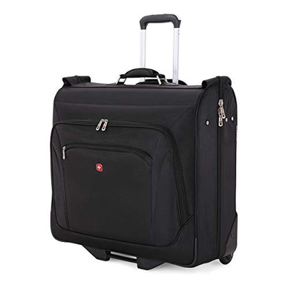 (USED) SWISSGEAR Full-Sized Effortless Folding Wheeled Garment Bag | Rolling Travel Luggage | Men's and Women's - Black