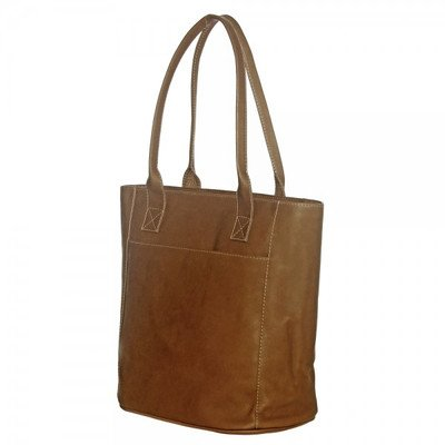 Piel Leather X-Large Laptop Tote Bag, Saddle, One Size