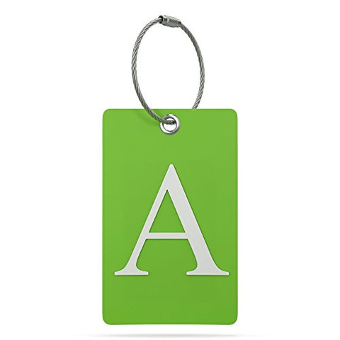 Luggage Tag Initial - Fully Bendable Tag w/Stainless Steel Loop (Letter A)