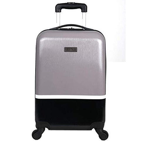 Heritage Travelware Charter Park 20in Lightweight Colorblock Hardside Expandable 4-Wheel Spinner Carry-On Suitcase, Metallic Silver/Black