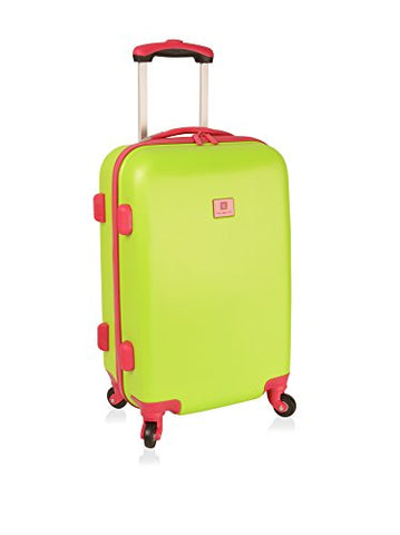 "Anne Klein Palm Springs 20"" Hardside Carry-On Spinner Luggage, Lime Hibiscus"