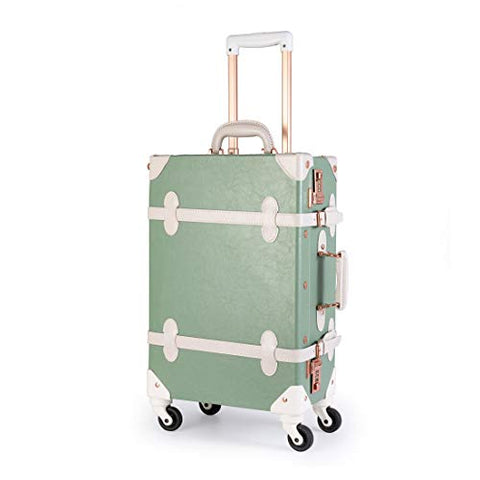 "Uniwalker Mint Green Rolling Luggage Vintage Style Carry On Suitcase For Women (24"", Mint Green)"