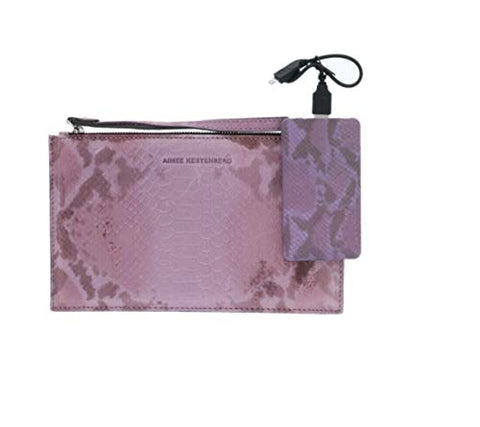 Aimee Kestenberg Pebble Leather Pouch Charger Rose Snake New A285977