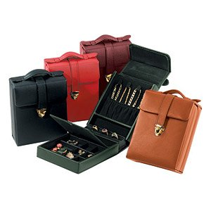 Royce Leather Ladies' Pocketbook Jewelry Case - Red