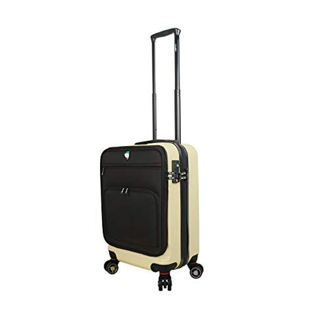 Mia Toro Italy Lumina Hardside Spinner Luggage Carry-on, Cream
