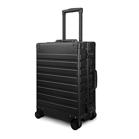 Travelking All Aluminum Carry On Luggage with TSA Locks Metal Hard Shell Spinner Suitcase (New Arrival Black, 20 Inch)