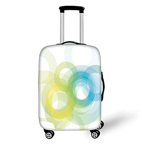 Travel Luggage Cover Suitcase Protector,Abstract,Blue Yellow Circles in Modern Design Grunge Inspired Ombre Style Round Shapes Decorative,Sky Blue Yellow,for TravelL 25.9x37.8Inch