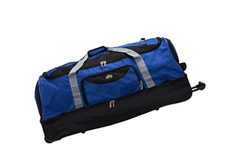 "Rockland 40"" Drop Bottom Rolling Duffle Duffel Bag, Navy, One Size"