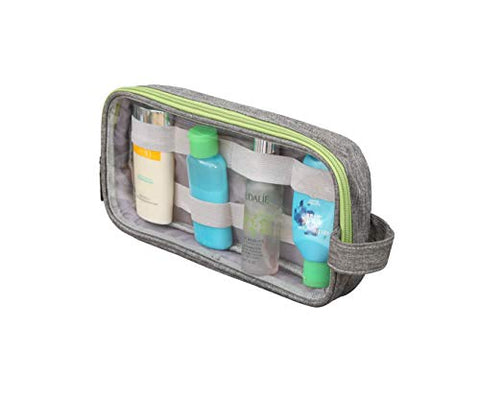 Travel Toiletry Bag by Travel Fusion - With Clear Windows and Elastic Bands to Keep Toiletries