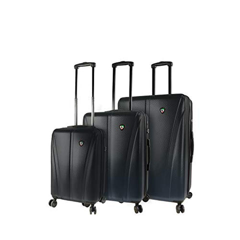 Mia Toro Italy Usini Hardside Spinner Luggage 3pc Set, Black