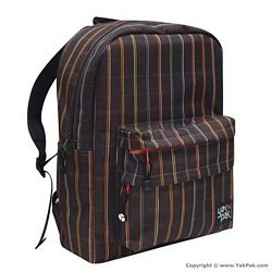 Brown Stripe Plaid Big P Backpack By Yak Pak