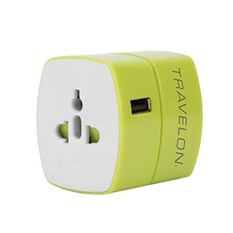 Travelon Universal Adapter With Usb Charger, Green
