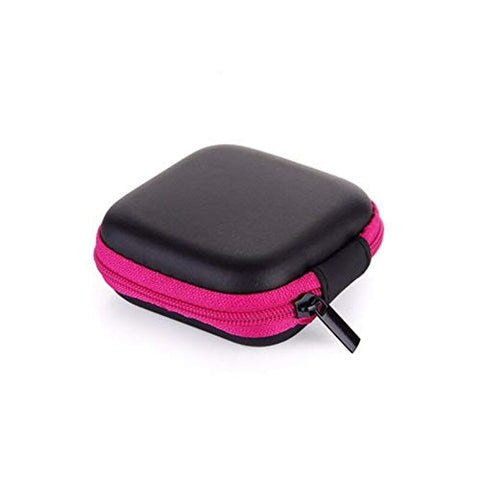 Colorful Portable Mini Zip Round Hard Storage Pouch Case Coin Purse Earphone (Color - Rose red)