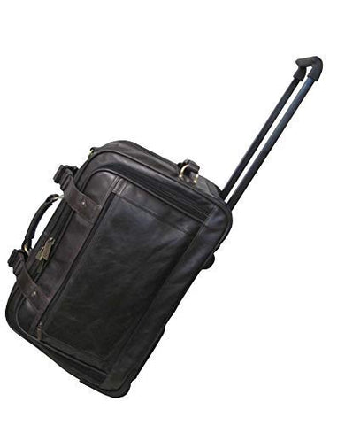 AmeriLeather Etta Leather Wheeled Duffel (Vintage Dark Brown)