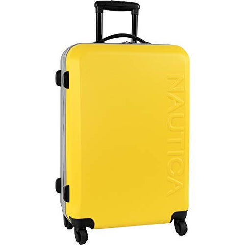 Nautica Hardside Carry On Luggage - 20 Inch Spinner Wheels Suitcase Lightweight Rolling Travel Bag for Under Seat, Yellow/Silver