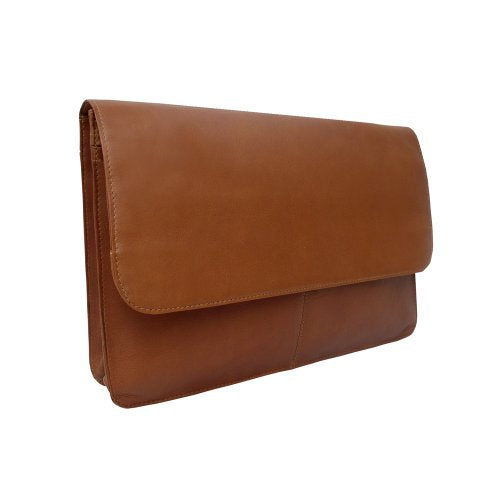 Piel Leather Three-Section Flap Portfolio, Saddle, One Size