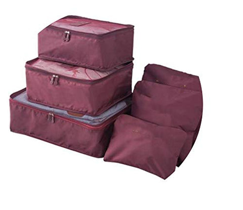 6pcs/set Packing Cube Double Zipper Waterproof Bag Luggage Clothes Sorting Pouch Portable Organizer,wine red