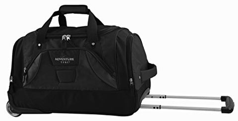 "TPRC 21"" ""Adventure"" Rolling Duffel Constructed with Honeycomb Designed RIP-STOP Material Includes Dual Side Pockets and Front Accessory Pocket, Black Color Option"