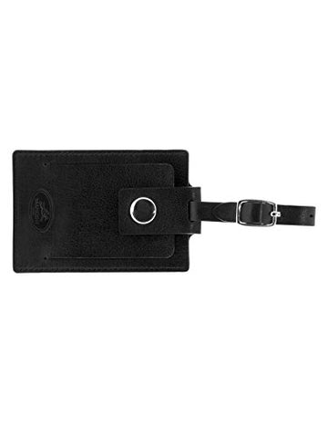 "Mancini Leather Goods Inc Men's Top Grain Polished Drum Dyed Leather Luggage Tag 2.75"" x 4"" x 0.25"" Black"