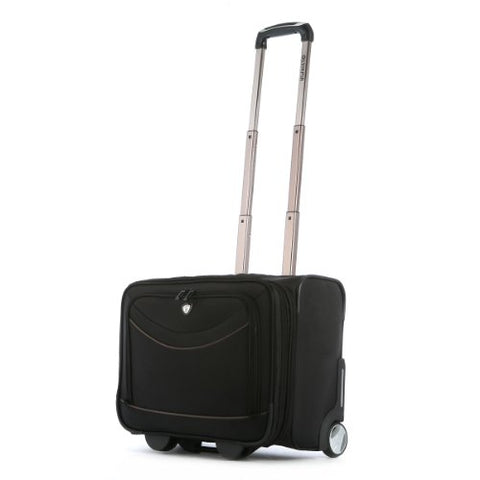 Olympia Luggage Deluxe Rolling Overnighter,Black,One Size