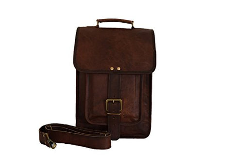 "Vintage Craft Real Brown Leather Satchel 13"" Macbook / Laptop Messenger Bag"