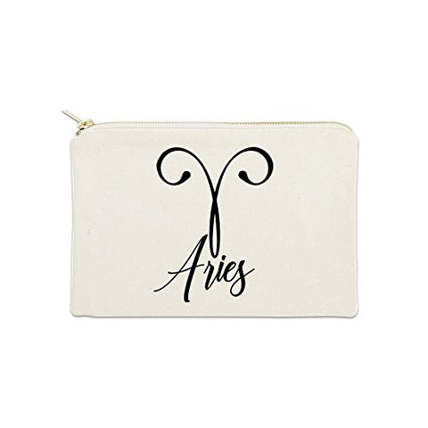 Aries Zodiac Sign 12 oz Cosmetic Makeup Cotton Canvas Bag - (Natural Canvas)