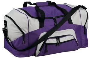 Port & Company Colorblock Sport Duffel, Purple/Grey