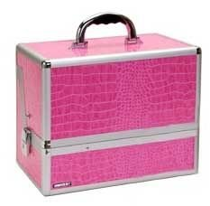 Beauty Case W Dividers (Pink Alligator)