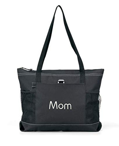 Personalized Beach Bag Monogrammed Tote Premium Zippered with Mesh Pockets (Black)