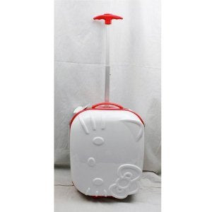 "Hello Kitty 18"" Rolling ABS Luggage Bag Hard Suit Case- White Face Bow"