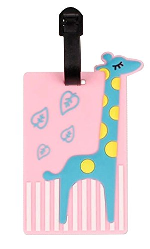 Set Of 2 Luggage Tag Bag Tags Silicone Name Tag Travel Tag [Pink Giraffe]