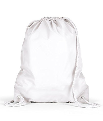 Ultraclub Drawstring Grommet Sport Backpacks Set_White & Black_Os