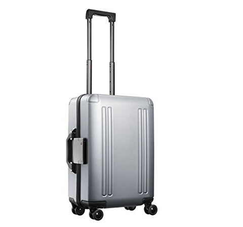 "Zero Halliburton ZRO 22"" Domestic Carry-On 4-Wheel Spinner Luggage in Silver"