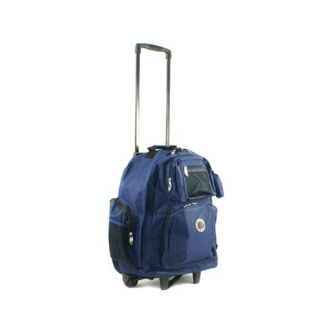 Transworld Roll-Away Deluxe Rolling Backpack - Navy Blue