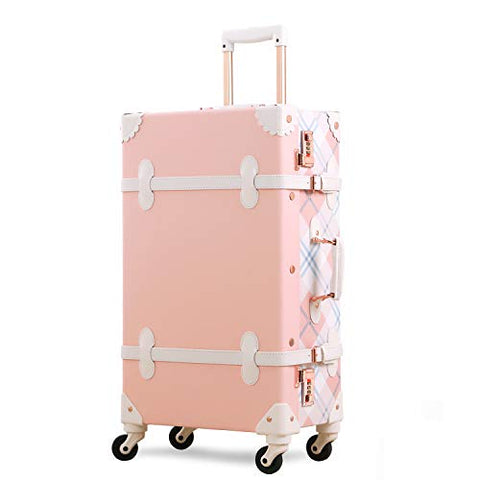 Unitravel Retro Rolling Suitcase Lightweight PU Trunk Luggage for Women