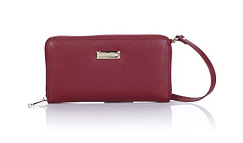Samantha Brown Genuine Leather RFID Zip-Around Wallet ~ Burgundy