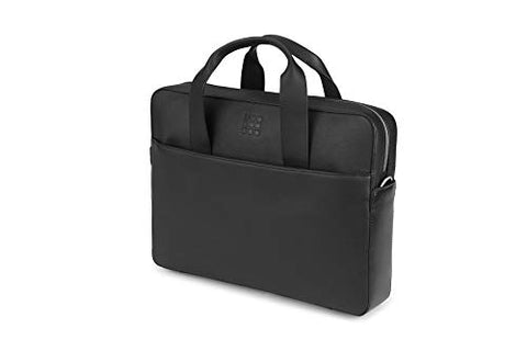 Moleskine Classic Leather Slim Briefcase, Black -  For Work, School, Travel & Everyday Use, Space for Devices, Tablet, Laptop, & Chargers, Notebook Planner or Organizer, Secure Zipper