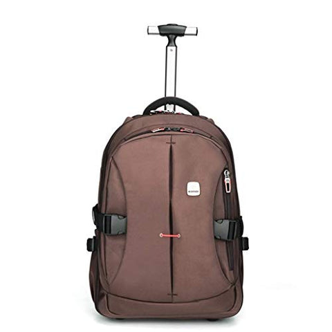 C-Xka Waterproof Wheeled Rolling Backpack for Men and Women Business Laptop Travel Backpack Bag (Color : Brown, Size : 21inch)