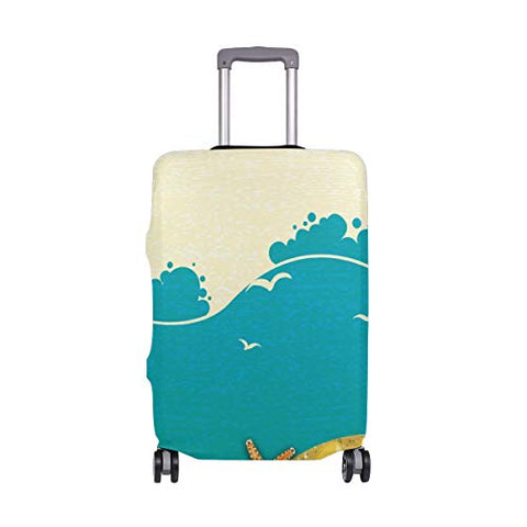 GIOVANIOR Yellow Beach Starfish Seashells Slipper Luggage Cover Suitcase Protector Carry On Covers