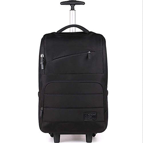 Backpack with Wheels Multi-Compartment Nylon Waterproof Business Rolling Backpack Hand Cabin Luggage Men Laptop Rucksack with Anti-Theft Zippers,Black