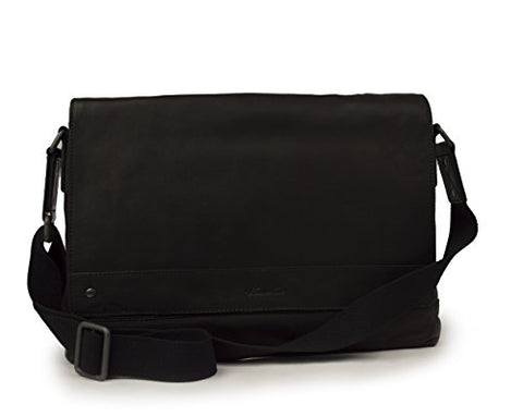 "Kenneth Cole ""The Mess-ing Link"" Glazed Colombian Leather Messenger Bag, Color Black"