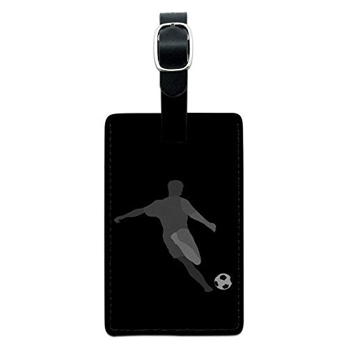 Graphics & More Soccer-Sport Football Leather Luggage Id Tag Suitcase Carry-on, Black
