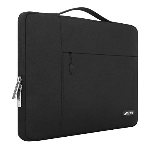 MOSISO Laptop Sleeve Briefcase Handbag Compatible 15-15.6 Inch MacBook Pro, Notebook Computer, Polyester Multifunctional Carrying Case Protective Bag Cover, Black