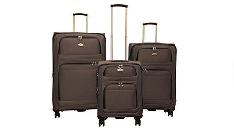 3 Piece Huge Space Spinner Wisdom Luggage (3 Piece Set, Coffee)