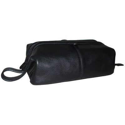 AmeriLeather Top-Zip Leather Toiletry Bag (Black)